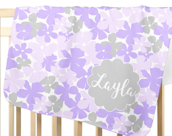 Gray and Lavender Baby Gift; Personalized Fleece Blanket