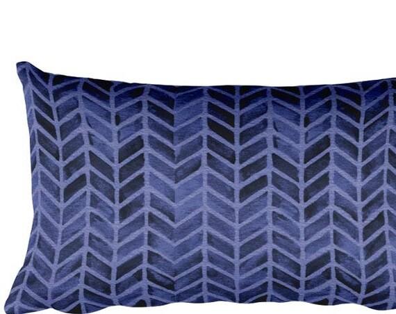 "Midnight Blue Pillow with Arrow Motif, 12""x20"""