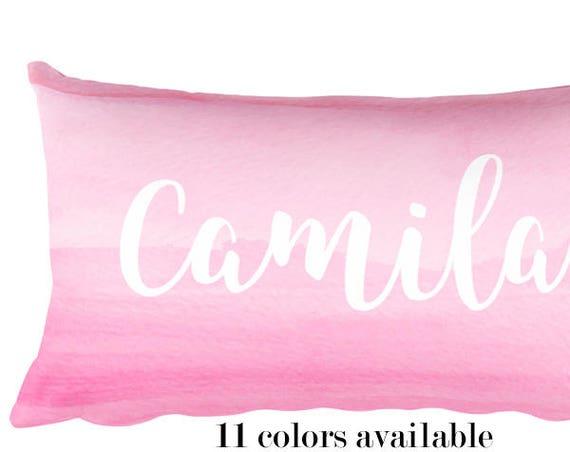Pink Nursery Pillow with Custom Name, 12x20