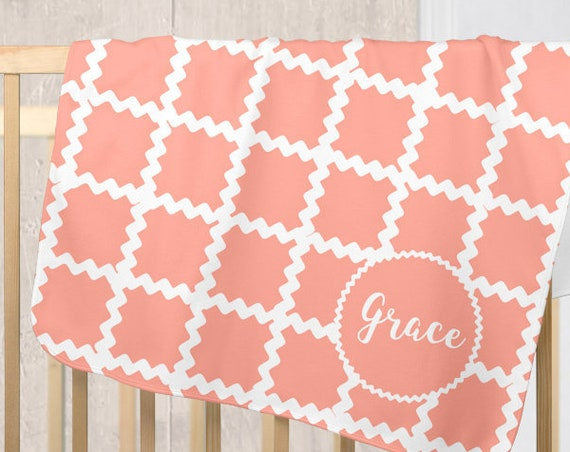Personalized Coral Baby Blanket with Ric Rac