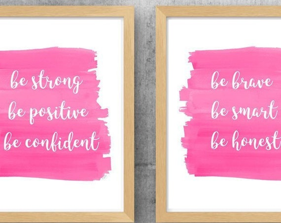 Pink Girl Power Prints, 11x14 Set of 2 Inspirational Quotes for Girls Room