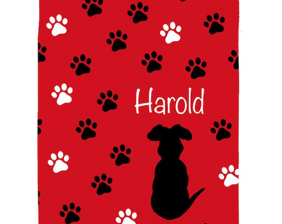 Black Lab Pet Blanket with Name; Red Fleece