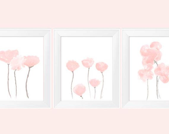 Blush Wall Decor, Set of 3- 11x14 Flower Prints