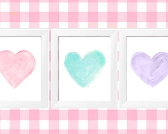 Pastel Nursery Decor, Set of 3 Watercolor Heart Prints