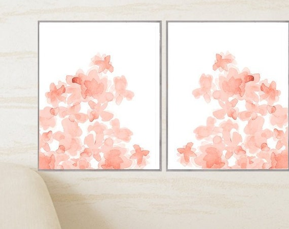 Coral Flowers Posters, 16x20 Set of 2, 10 Colors Available