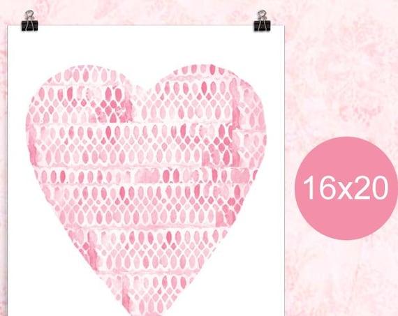 Little Girls Poster, Pink Heart, 12x16, 16x20