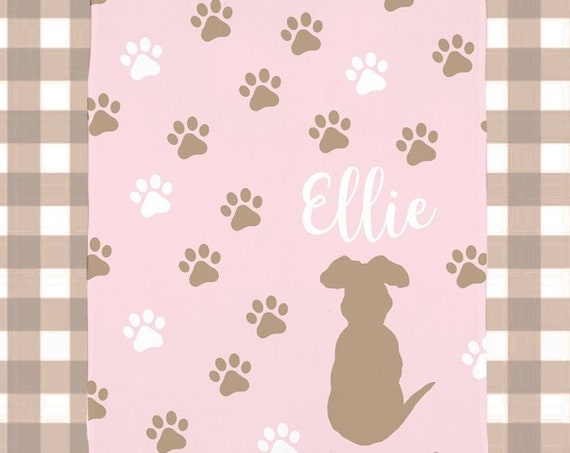 Girl Dog Blanket in Pink Fleece with Personalized Name; 5 Colors Available