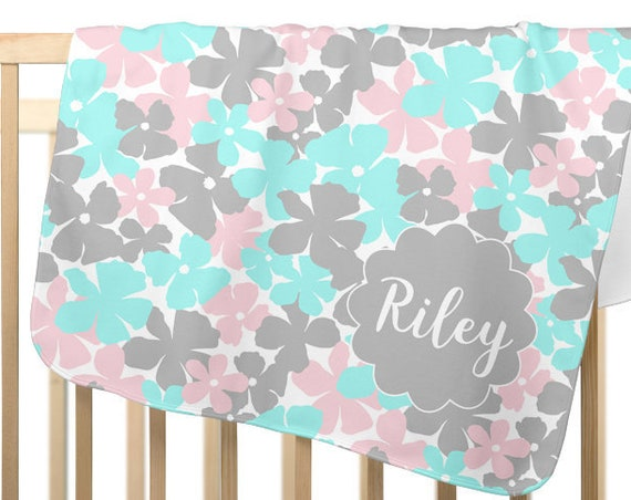 Personalized Flower Blanket in Pink, Aqua, and Gray for Little Girl