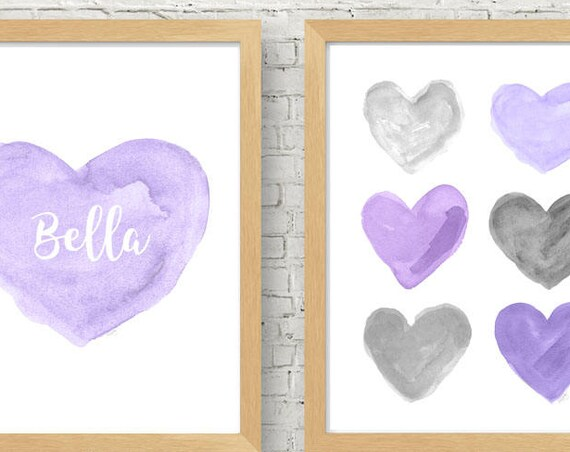 Purple and Gray Nursery Artwork, 11x14 Set of 2 Personalized Prints