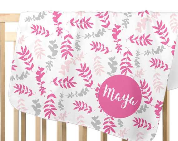 Pink and Gray Floral Baby Blanket Personalized with Custom Name