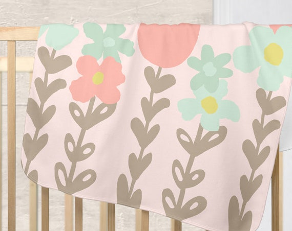 Personalized Blush Baby Blanket with Large Flower Print