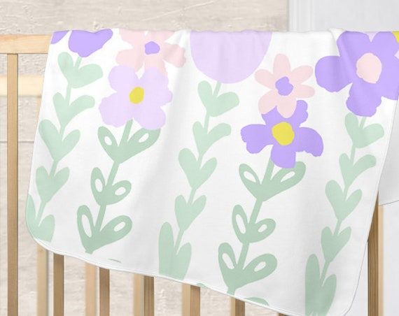 Lavender and Mint Baby Blanket with Bold Flowers and Personalized Name