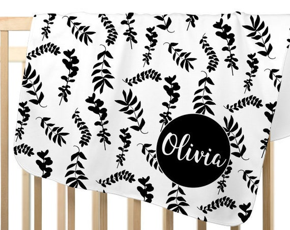 Contemporary Black and White Baby Blanket for Girl; Personalized