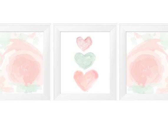 Blush and Mint Nursery, 11x14 Set of 3 Pastel Prints