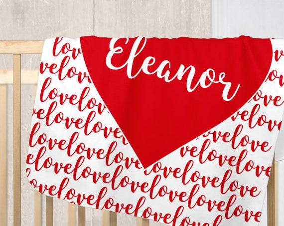 Christmas Nursery Blanket with Personalized Red Heart
