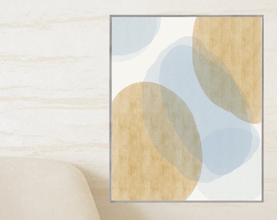 Mid Century Abstract Art, 16x20 Print in Blue and Gold