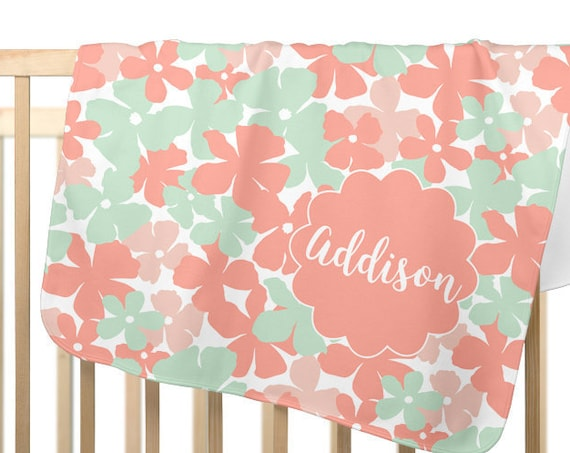 Coral and Mint Personalized Baby Blanket