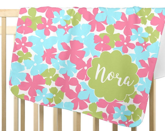 Tropical Flowers Blanket in Pink and Green for Girls