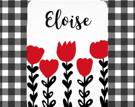 Red and Black Baby Blanket with Large Tulips Personalized with Name