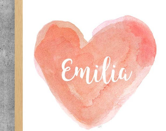 Personalized Coral Heart Nursery Print, 11x14