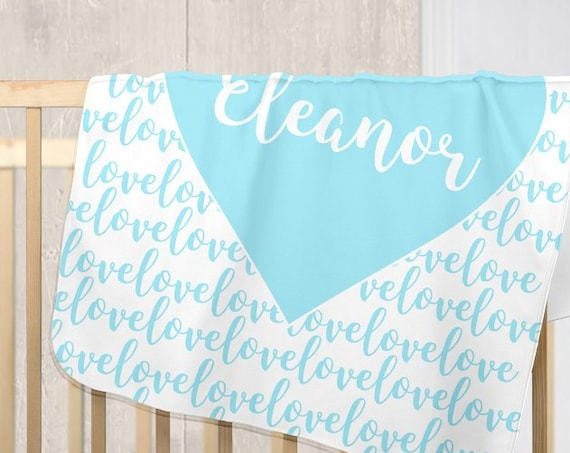 Aqua Blue Baby Stroller Blanket in Fleece with Personalized Name