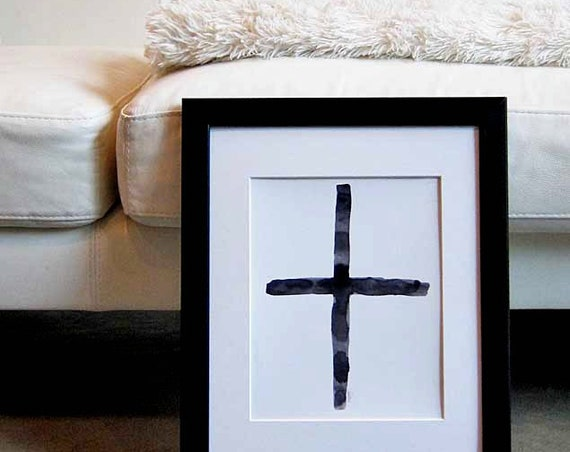 Black and White Watercolor Cross Print 8x10