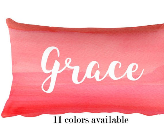 Girls Name Pillow with Hot Pink Brushstrokes, 12x20