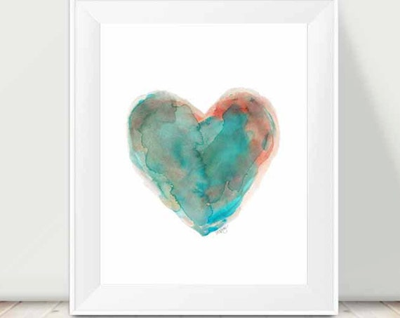 Southwestern Decor, 11x14 Turquoise Heart Watercolor Print