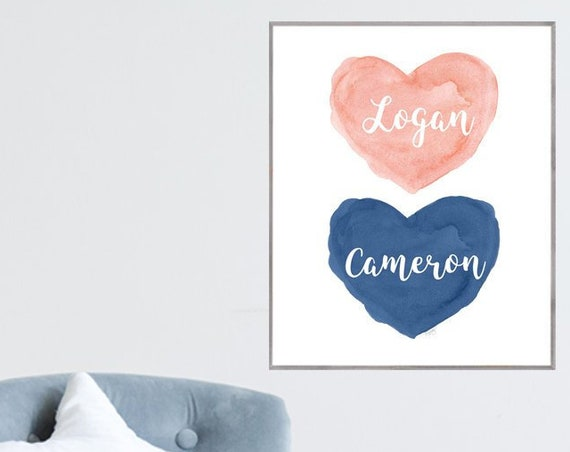 Coral and Navy Kids Room, 12x16, 16x20 Personalized Poster