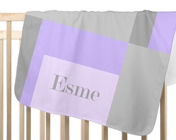 Colorblock Baby Blanket in Purple and Gray; Personalized with name