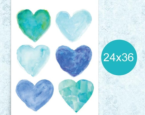 Turquoise Hearts Poster, 24x36