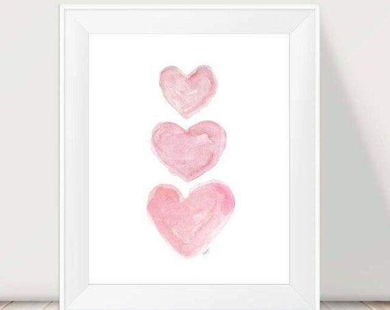 Baby Girl Nursery Print with Pink Watercolor Hearts