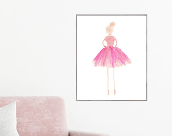 Pink Ballerina Poster for Girls, 16x20, 12x16