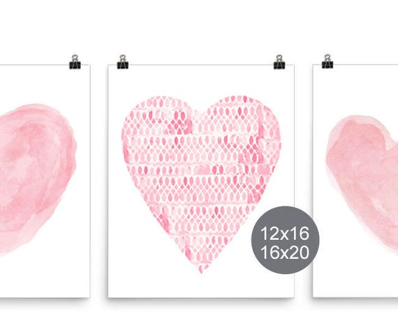 Pink Hearts Posters, 16x20, 12x16 Set of 3