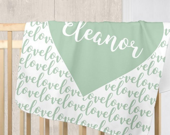 Mint Infant Blanket with Personalized Name in Fleece