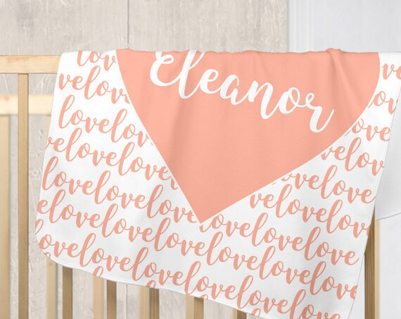 Coral Heart Blanket for Baby with Personalized Name in Fleece
