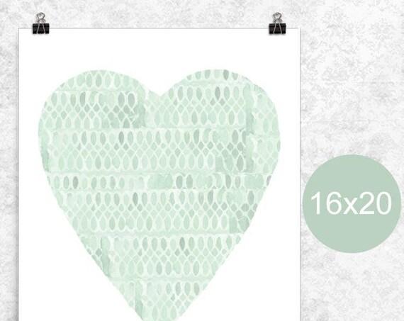Mint Heart Poster, 16x20, 12x16