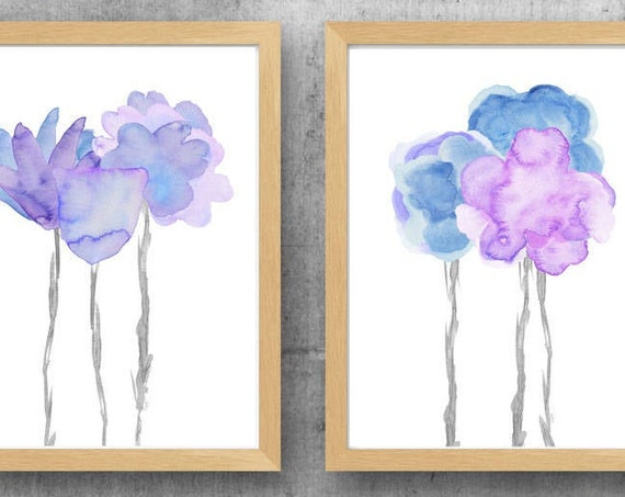Lavender and Pale Blue Flower Prints Set of 2, Floral Watercolors