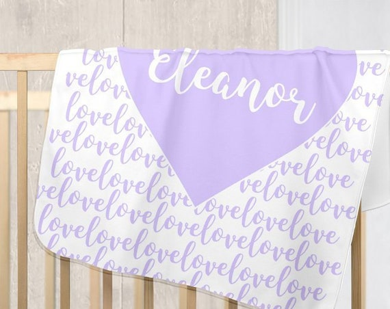 Lavender Baby Nursery Blanket with Personalized Name
