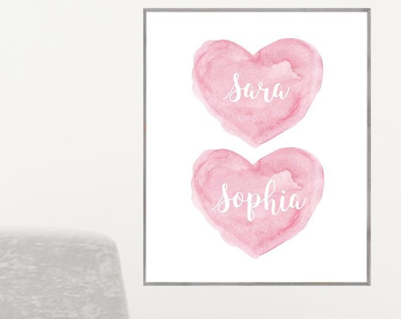 Sisters Print with Personalized Pink Watercolor Hearts, 12x16, 16x20