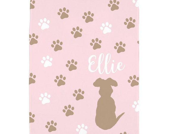 Gift for Pet Lover; Pink Dog Blanket with Personalized Name