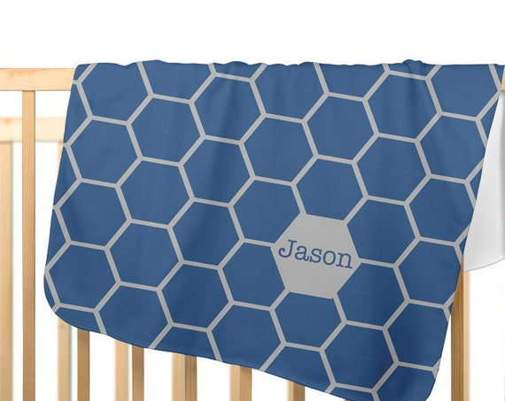 Mid Century Nursery Design;Personalized Baby Blanket for Boys in Blue