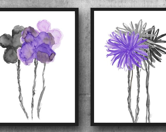 Contemporary Purple and Black Flower Prints, Set of 2