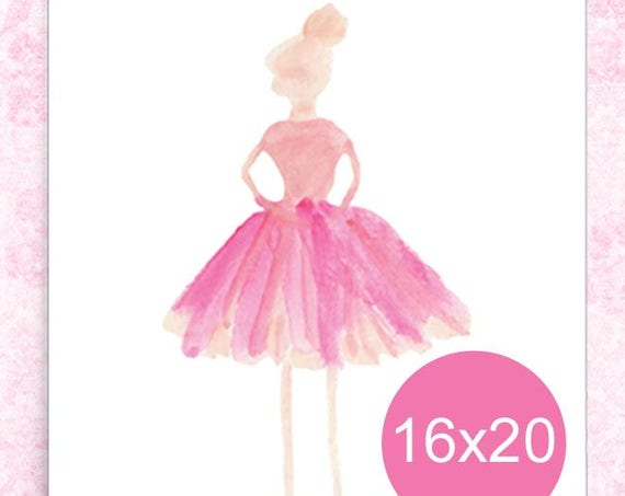 Pink Ballerina Poster for Girls, 16x20, 12x16