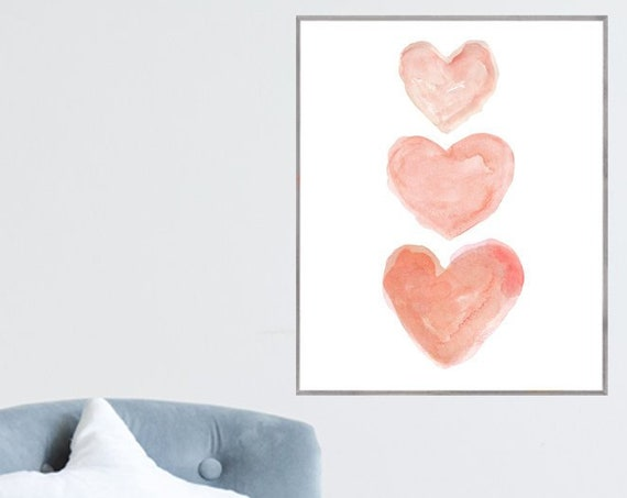 Large Coral Heart Print for Girls Room, 16x20, 12x16