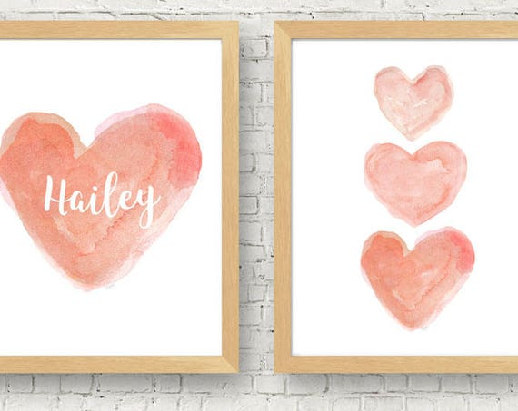 Peach Nursery Prints, 11x14 Set of 2 Personalized Prints