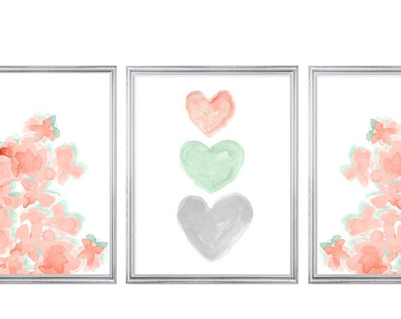 Coral and Mint Nursery Print Set, 11x14 Set of 3