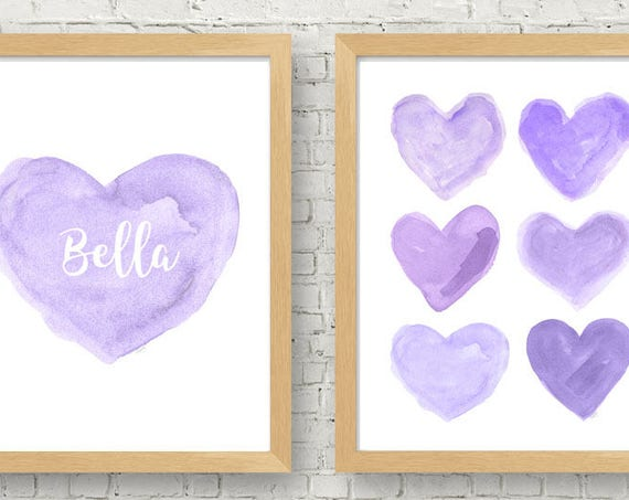 Lavender and Gray Girls Prints, Set of 2 - 8x10 Personalized Heart Prints