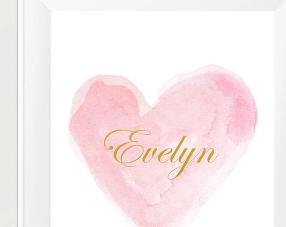 Custom Birth Print, Personalized Name in Pink Heart with and Gold, 11x14