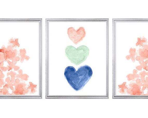 Coral and Navy Prints, 11x14 Set of 3